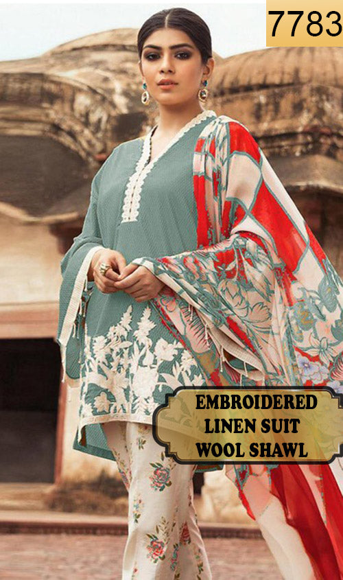 WYAJ-7783 - NECK EMBROIDERED DESIGNER 3PC LINEN SUIT WITH WOOL SHAWL - WINTER COLLECTION 2019 / 2020