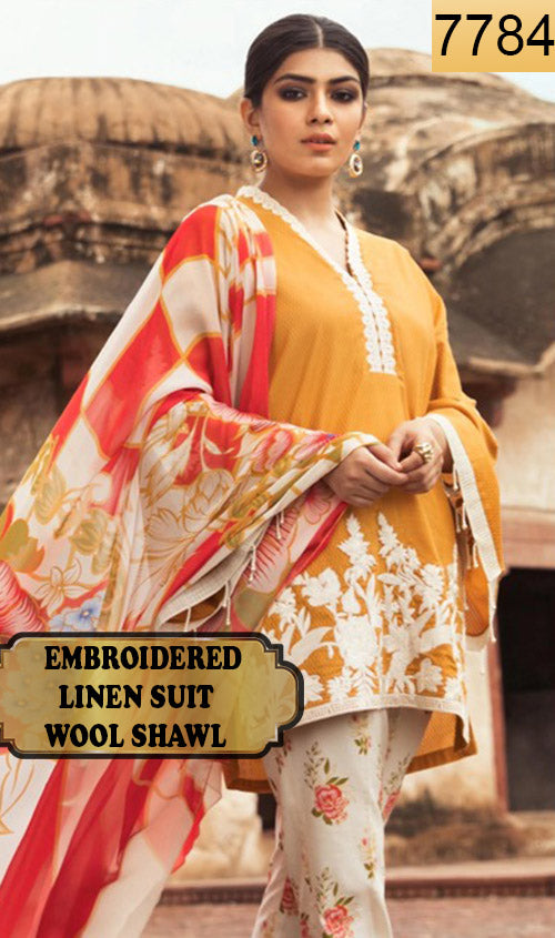 WYAJ-7784 - NECK EMBROIDERED DESIGNER 3PC LINEN SUIT WITH WOOL SHAWL - WINTER COLLECTION 2019 / 2020