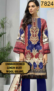WYAJ-7824 - NECK EMBROIDERED DESIGNER 3PC LINEN SUIT WITH WOOL SHAWL - WINTER COLLECTION 2019 / 2020