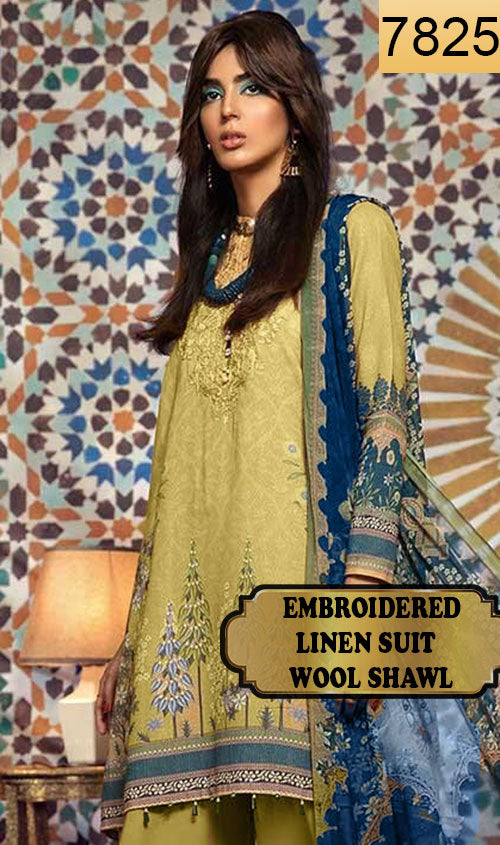 WYAJ-7825 - NECK EMBROIDERED DESIGNER 3PC LINEN SUIT WITH WOOL SHAWL - WINTER COLLECTION 2019 / 2020