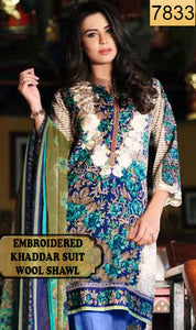 WYAJ-7833 - NECK EMBROIDERED DESIGNER 3PC KHADDAR SUIT WITH WOOL SHAWL - WINTER COLLECTION 2019 / 2020
