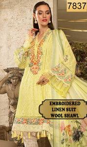 WYAJ-7837 - NECK EMBROIDERED DESIGNER 3PC LINEN SUIT WITH WOOL SHAWL - WINTER COLLECTION 2019 / 2020