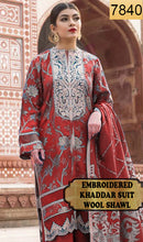 Load image into Gallery viewer, WYAJ-7840 - NECK EMBROIDERED DESIGNER 3PC KHADDAR SUIT WITH WOOL SHAWL - WINTER COLLECTION 2019 / 2020