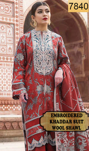WYAJ-7840 - NECK EMBROIDERED DESIGNER 3PC KHADDAR SUIT WITH WOOL SHAWL - WINTER COLLECTION 2019 / 2020