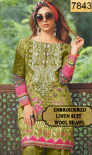 Load image into Gallery viewer, WYAJ-7843 - NECK EMBROIDERED DESIGNER 3PC LINEN SUIT WITH WOOL SHAWL - WINTER COLLECTION 2019 / 2020