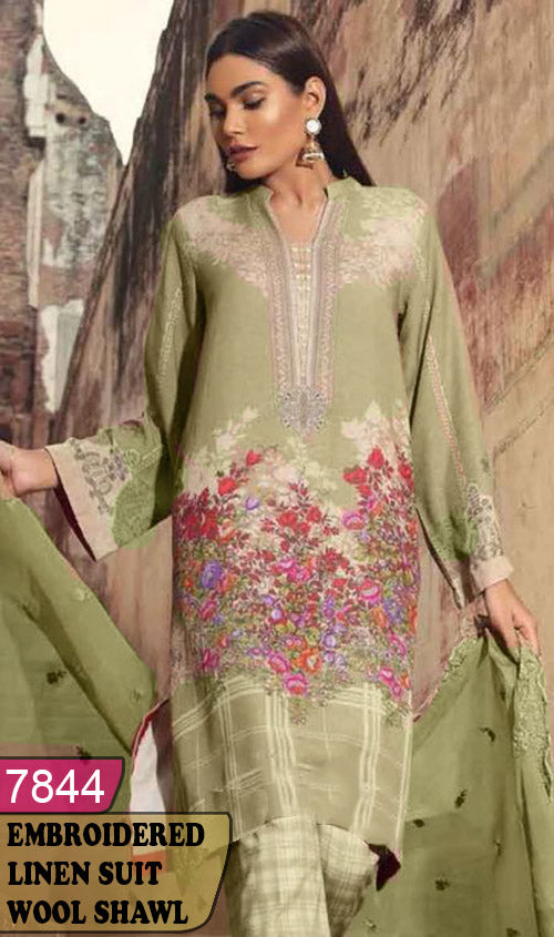 WYAJ-7844 - NECK EMBROIDERED DESIGNER 3PC LINEN SUIT WITH WOOL SHAWL - WINTER COLLECTION 2019 / 2020