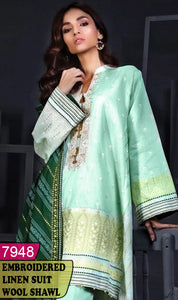 WYAJ-7948 - NECK EMBROIDERED DESIGNER 3PC LINEN SUIT WITH WOOL SHAWL - WINTER COLLECTION 2020 / 2021