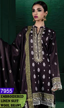 Load image into Gallery viewer, WYAJ-7955 - NECK EMBROIDERED DESIGNER 3PC LINEN SUIT WITH WOOL SHAWL - WINTER COLLECTION 2020 / 2021