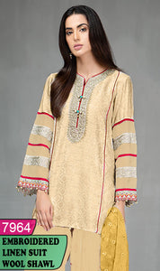 WYAJ-7964 - NECK EMBROIDERED DESIGNER 3PC LINEN SUIT WITH WOOL SHAWL - WINTER COLLECTION 2020 / 2021