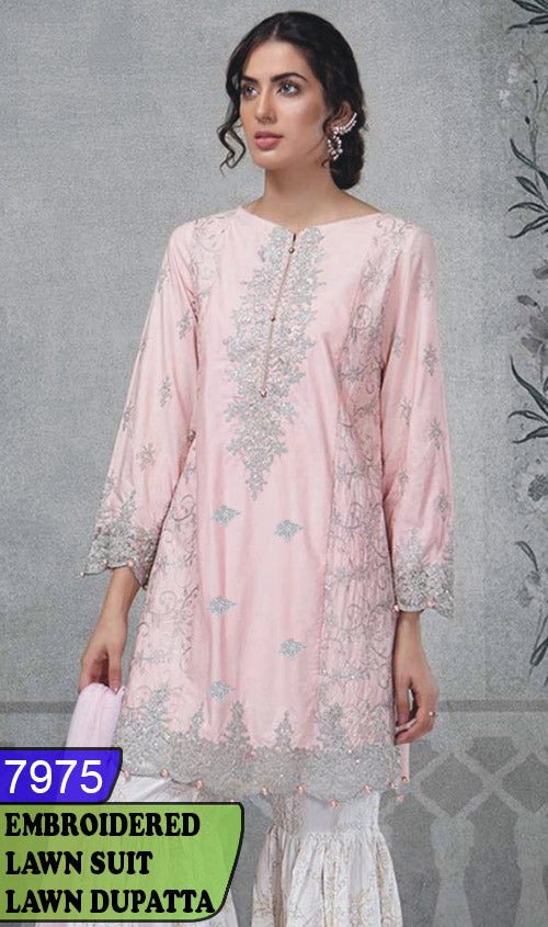 WYAJ-7975 - FRONT EMBROIDERED DESIGNER 3PC LAWN SUIT WITH LAWN DUPATTA - SUMMER COLLECTION 2020 / 2021