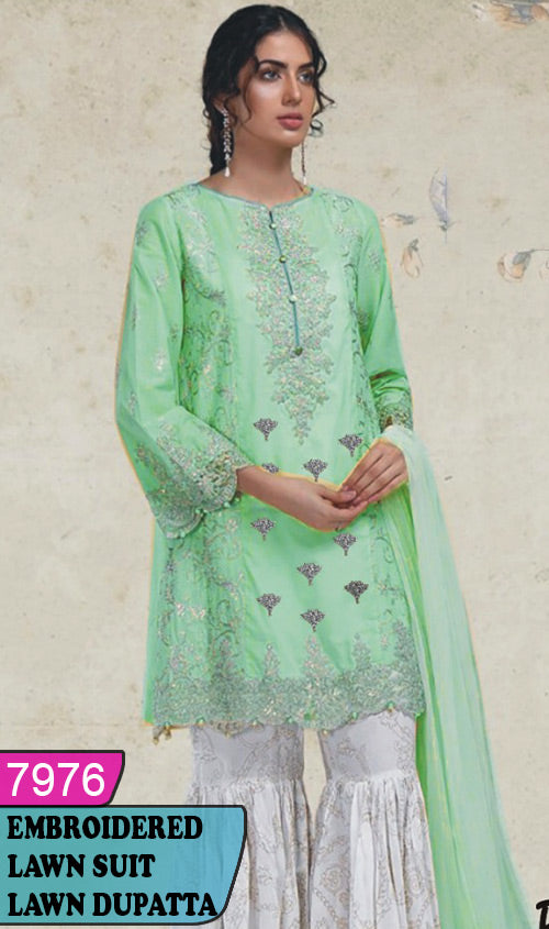 WYAJ-7976 - FRONT EMBROIDERED DESIGNER 3PC LAWN SUIT WITH LAWN DUPATTA - SUMMER COLLECTION 2020 / 2021