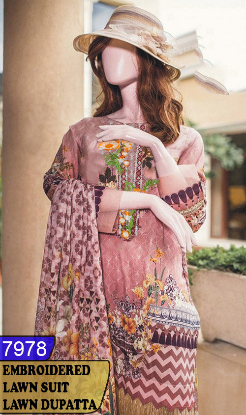 WYAJ-7978 - NECK EMBROIDERED DESIGNER 3PC LAWN SUIT WITH LAWN DUPATTA - SUMMER COLLECTION 2020 / 2021