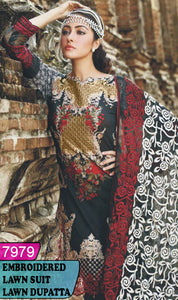WYAJ-7979 - NECK EMBROIDERED DESIGNER 3PC LAWN SUIT WITH LAWN DUPATTA - SUMMER COLLECTION 2020 / 2021