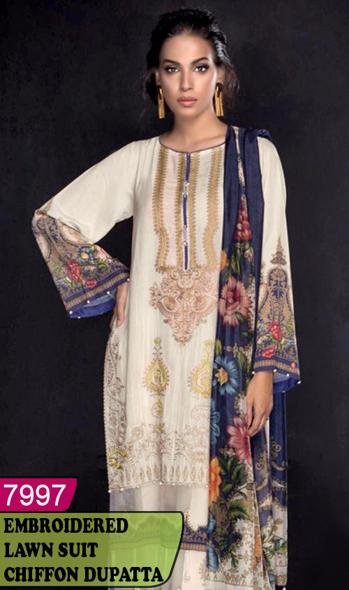 WYAJ-7997 - NECK EMBROIDERED DESIGNER 3PC LAWN SUIT WITH CHIFFON DUPATTA - SUMMER COLLECTION 2020 / 2021