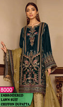 Load image into Gallery viewer, WYAJ-8000 - NECK EMBROIDERED DESIGNER 3PC LAWN SUIT WITH CHIFFON DUPATTA - SUMMER COLLECTION 2020 / 2021