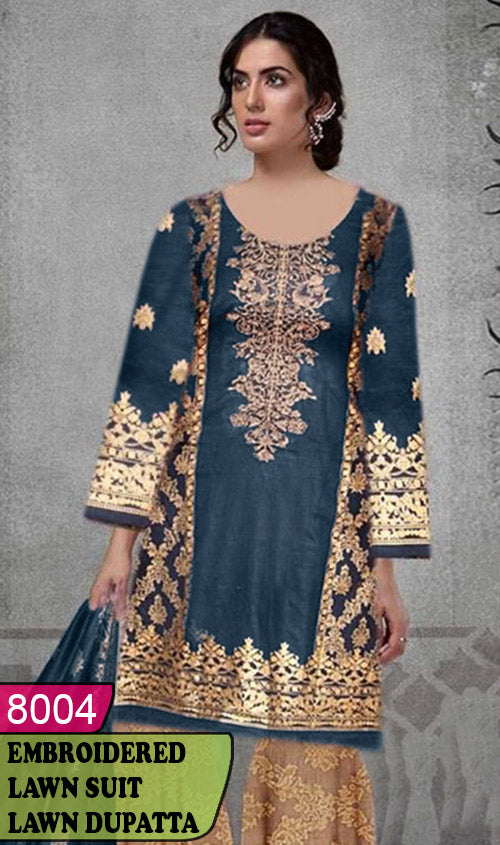 WYAJ-8004 - NECK EMBROIDERED DESIGNER 3PC LAWN SUIT WITH LAWN DUPATTA - SUMMER COLLECTION 2020 / 2021