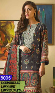WYAJ-8005 - NECK EMBROIDERED DESIGNER 3PC LAWN SUIT WITH LAWN DUPATTA - SUMMER COLLECTION 2020 / 2021