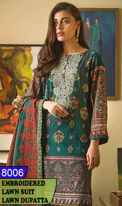 WYAJ-8006 - NECK EMBROIDERED DESIGNER 3PC LAWN SUIT WITH LAWN DUPATTA - SUMMER COLLECTION 2020 / 2021
