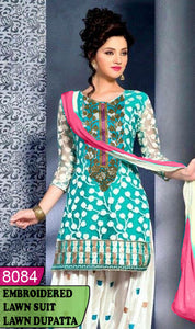 WYAJ-8084 - NECK EMBROIDERED DESIGNER 3PC LAWN SUIT WITH LAWN DUPATTA - SUMMER COLLECTION 2020 / 2021