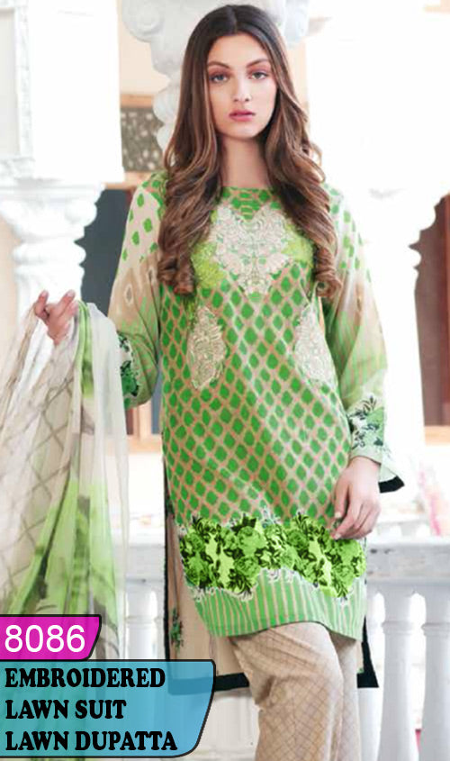 WYAJ-8086 - NECK EMBROIDERED DESIGNER 3PC LAWN SUIT WITH LAWN DUPATTA - SUMMER COLLECTION 2020 / 2021