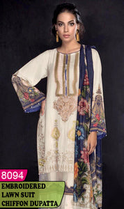 WYAJ-8094 - NECK EMBROIDERED DESIGNER 3PC LAWN SUIT WITH CHIFFON DUPATTA - SUMMER COLLECTION 2020 / 2021