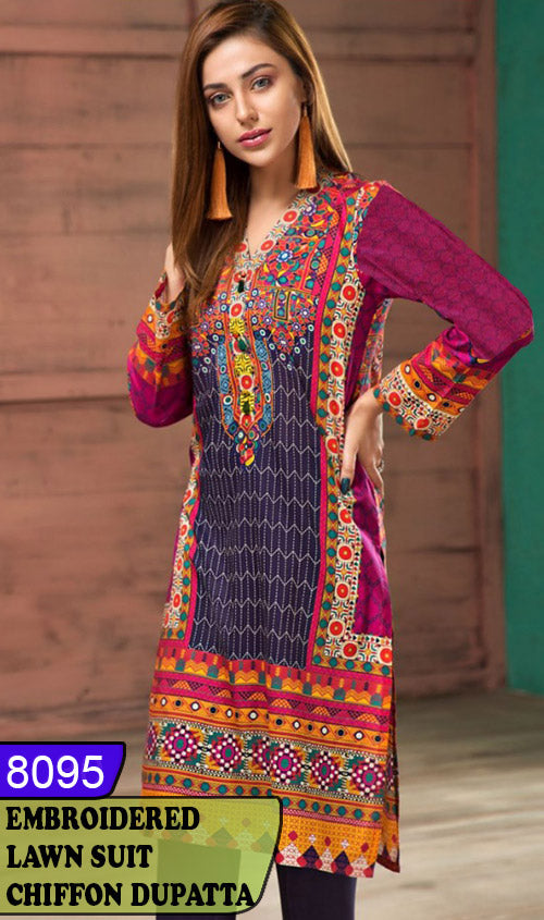 WYAJ-8095 - NECK EMBROIDERED DESIGNER 3PC LAWN SUIT WITH CHIFFON DUPATTA - SUMMER COLLECTION 2020 / 2021