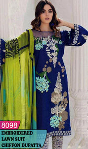 WYAJ-8098 - FRONT EMBROIDERED DESIGNER 3PC LAWN SUIT WITH CHIFFON DUPATTA - SUMMER COLLECTION 2020 / 2021