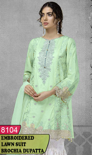 WYAJ-8104 - FRONT EMBROIDERED DESIGNER 3PC LAWN SUIT WITH BROCHIA DUPATTA - SUMMER COLLECTION 2020 / 2021