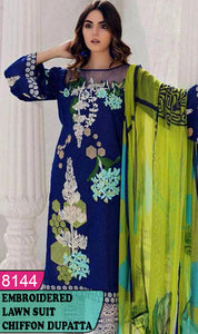 WYAJ-8144 - FRONT EMBROIDERED DESIGNER 3PC LAWN SUIT WITH CHIFFON DUPATTA - SUMMER COLLECTION 2020 / 2021