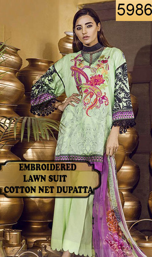 WYAO-5986 - NECK EMBROIDERED DESIGNER 3PC LAWN SUIT WITH COTTON NET DUPATTA - SUMMER COLLECTION 2018 / 2019