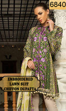 Load image into Gallery viewer, WYAO-6840 - FRONT EMBROIDERED DESIGNER 3PC LAWN SUIT WITH CHIFFON DUPATTA - SUMMER COLLECTION 2019 / 2020