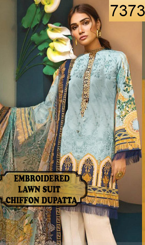 WYAO-7373 - EMBROIDERED DESIGNER 3PC LAWN SUIT WITH CHIFFON DUPATTA - SUMMER COLLECTION 2019 / 2020