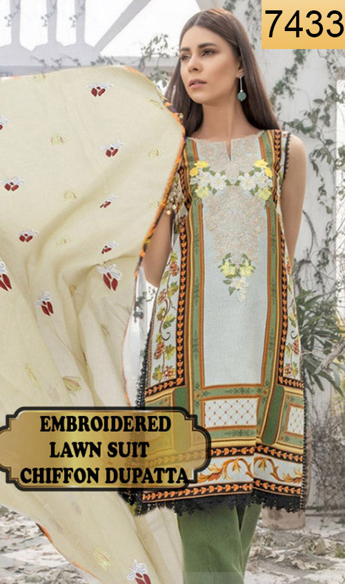 WYAO-7433 EMBROIDERED DESIGNER 3PC LAWN SUIT WITH CHIFFON DUPATTA - SUMMER COLLECTION 2019 / 2020
