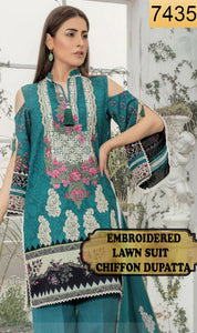 WYAO-7435 EMBROIDERED DESIGNER 3PC LAWN SUIT WITH CHIFFON DUPATTA - SUMMER COLLECTION 2019 / 2020