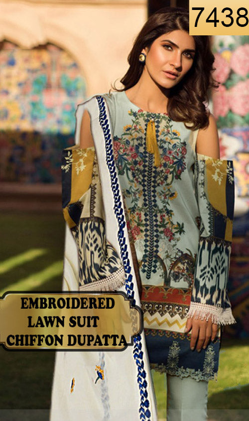 WYAO-7438 EMBROIDERED DESIGNER 3PC LAWN SUIT WITH CHIFFON DUPATTA - SUMMER COLLECTION 2019 / 2020