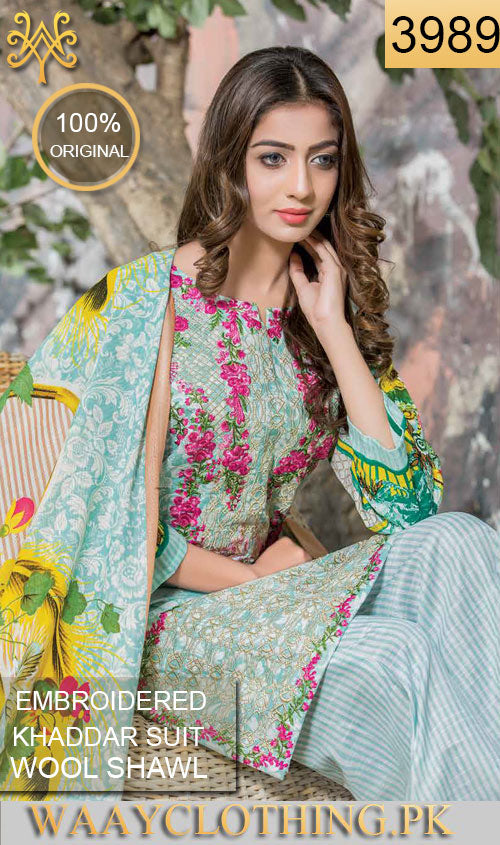 WYDL-3989 - FULL EMBROIDERED Designer 3PC ORIGINIAL KHADDAR Suit With WOOL SHAWL DUPATTA - WINTER COLLECTION 2017 / 2018