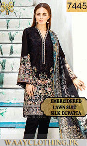 WYED-7445- FULL EMBROIDERED DESIGNER 3PC LAWN SUIT WITH SILK DUPATTA - SUMMER COLLECTION 2019/2020
