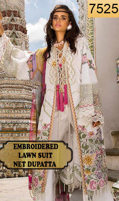 WYED-7525 - FULL EMBROIDERED DESIGNER 3PC LAWN SUIT WITH NET DUPATTA - SUMMER COLLECTION 2019/2020