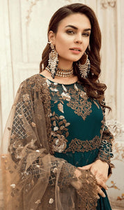 WYED-7559 - FULL EMBROIDERED DESIGNER 3PC CHIFFON SUIT WITH NET DUPATTA - PARTY WEAR DRESS 2019/2020