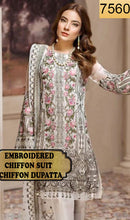 Load image into Gallery viewer, WYED-7560 - FULL EMBROIDERED DESIGNER 3PC CHIFFON SUIT WITH CHIFFON DUPATTA - PARTY WEAR DRESS 2019/2020