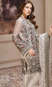 WYED-7560 - FULL EMBROIDERED DESIGNER 3PC CHIFFON SUIT WITH CHIFFON DUPATTA - PARTY WEAR DRESS 2019/2020