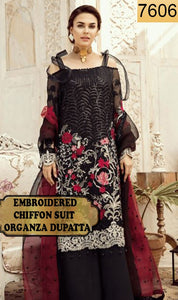 WYED-7606 - FULL EMBROIDERED DESIGNER 3PC CHIFFON SUIT WITH ORGANZA DUPATTA - PARTY WEAR DRESS 2019/2020