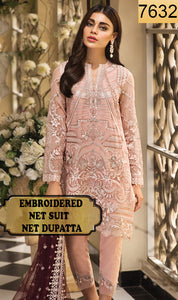 WYED-7632 - FULL EMBROIDERED DESIGNER 3PC NET SUIT WITH NET DUPATTA - PARTY WEAR DRESS 2019/2020