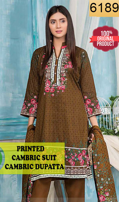 WYFC-6189 - PRINTED ORIGINAL 3PC CAMBRIC SUIT WITH CAMBRIC DUPATTA - WINTER COLLECTION 2019 / 2020