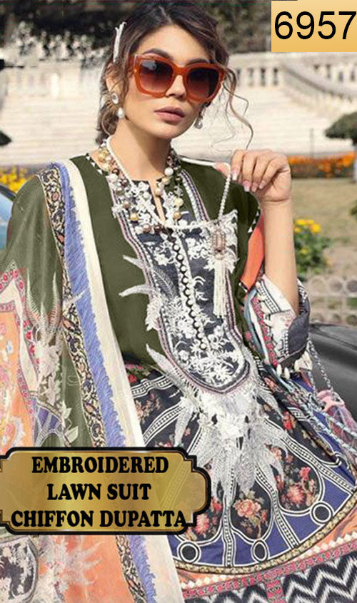 WYFD-6957 - NECK EMBROIDERED DESIGNER 3PC LAWN SUIT WITH CHIFFON DUPATTA - SUMMER COLLECTION 2019 / 2020