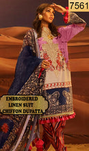 Load image into Gallery viewer, WYFD-7561 - NECK EMBROIDERED DESIGNER 3PC LINEN SUIT WITH CHIFFON DUPATTA - WINTER COLLECTION 2020 / 2021