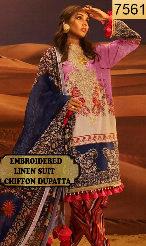WYFD-7561 - NECK EMBROIDERED DESIGNER 3PC LINEN SUIT WITH CHIFFON DUPATTA - WINTER COLLECTION 2020 / 2021