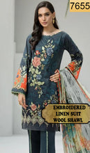 Load image into Gallery viewer, WYFD-7655- EMBROIDERED DESIGNER 3PC LINEN SUIT WITH WOOL SHAWL - WINTER COLLECTION 2019 / 2020