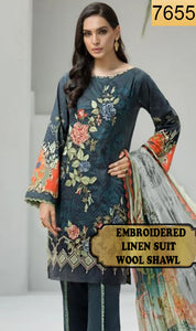 WYFD-7655- EMBROIDERED DESIGNER 3PC LINEN SUIT WITH WOOL SHAWL - WINTER COLLECTION 2019 / 2020