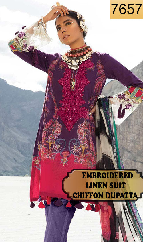 WYFD-7657- NECK EMBROIDERED DESIGNER 3PC LINEN SUIT WITH CHIFFON DUPATTA - WINTER COLLECTION 2019 / 2020